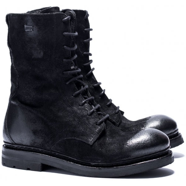 the last conspiracy TORA waxed suede Laced Boot 001 Black