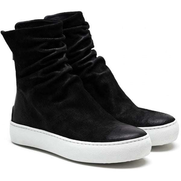 the last conspiracy FARA waxed suede High Top Sneaker 401 Black/white sole/buffed sole