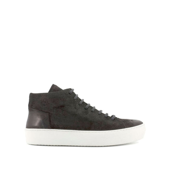 the last conspiracy RIKE waxed suede High Top Sneaker 401 Black/white sole/buffed sole