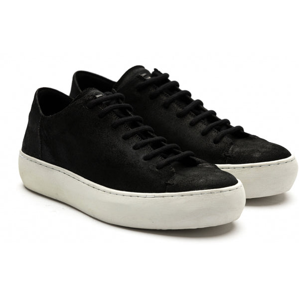 the last conspiracy BENI polished waxed suede Low Top Sneaker 401 Black/white sole/buffed sole