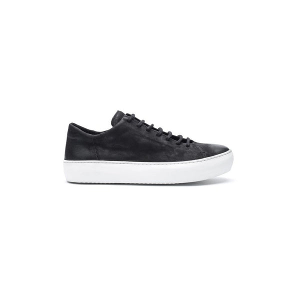 the last conspiracy BENI waxed suede Low Top Sneaker 401 Black/white sole/buffed sole