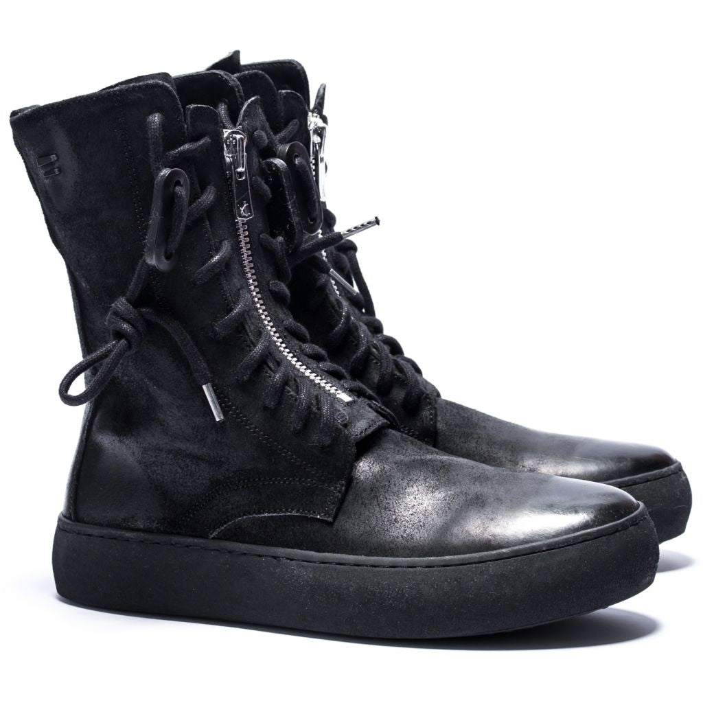 the last conspiracy MYA waxed suede Low Zip Boot 301 Black/buffed sole
