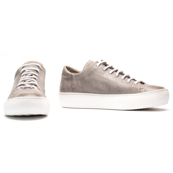 the last conspiracy BENI polished waxed suede Low Top Sneaker 486 Light Grey/white sole/buffed sole