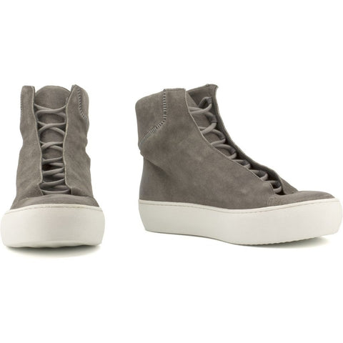 the last conspiracy MARIANO waxed suede High Top Sneaker 452 Dark Grey/white sole/buffed sole