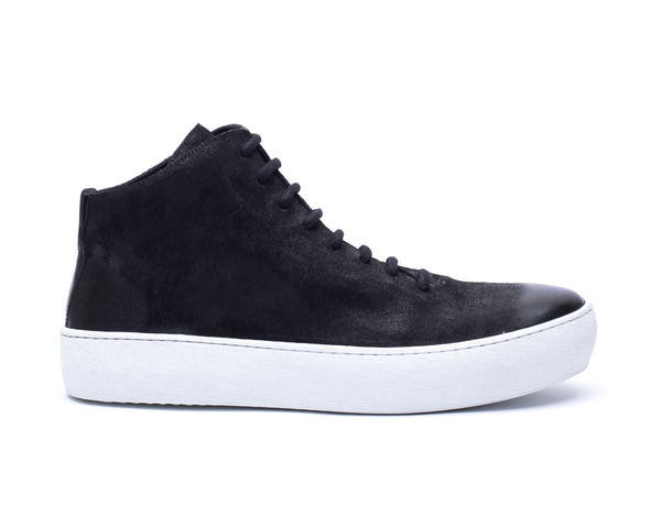 the last conspiracy BRANDO waxed suede Low Top Sneaker 201 Black/white sole