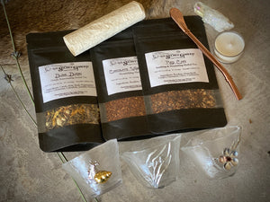 Divine Bliss Tea Spell Set | 3 Teas, 3 Cups, Bombilla, Tea Light, Aura Quartz, Spell