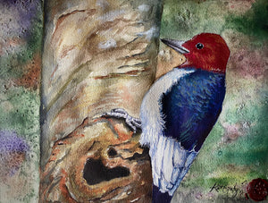 Woodpecker Watercolor Print | 5X7, 8X10