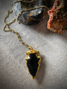 Gold Plated Obsidian Arrowhead Necklace