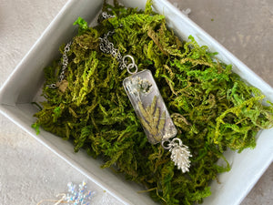 Botanical Resin Silver Pendant & Chain with Charm