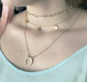 Triple Gold Chain Moon Necklace