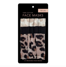 Load image into Gallery viewer, KITSCH Leopard Cotton Face Masks - Set of 3