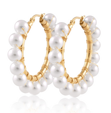 Load image into Gallery viewer, Modern Romance Boutique - Callie Pearl Hoops