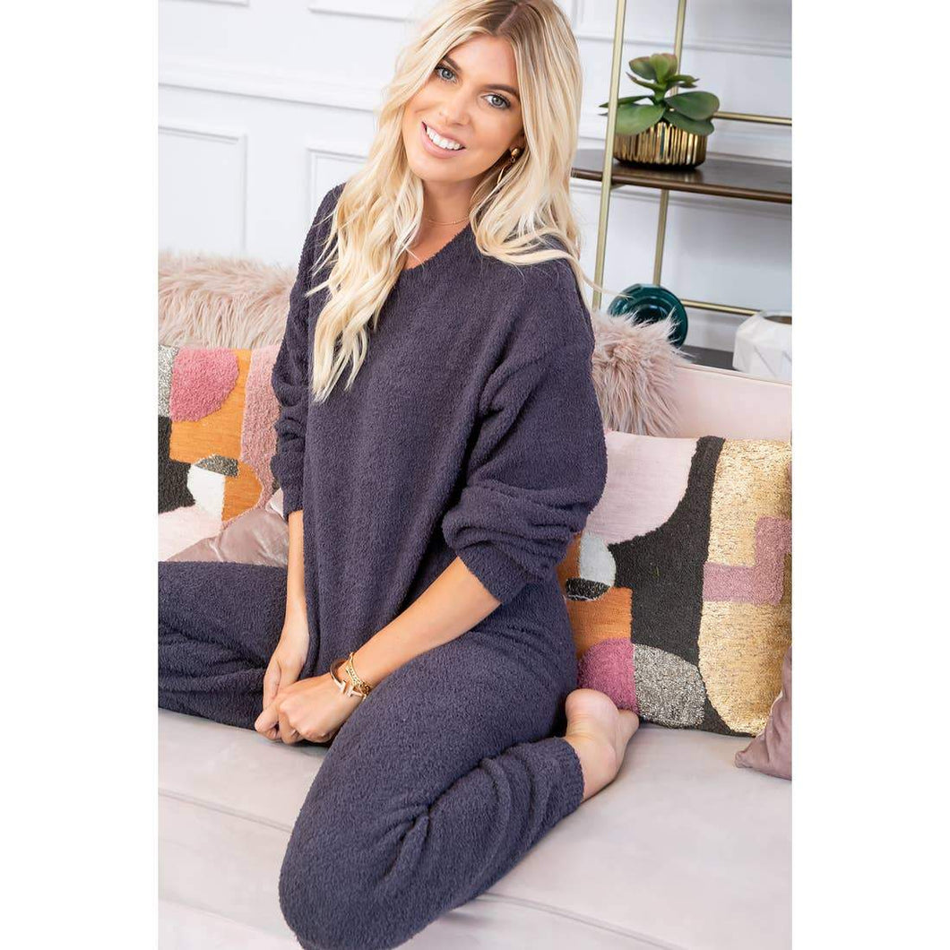 Cozy Soft Charcoal Knit Pullover