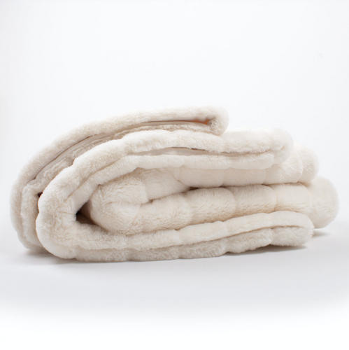 White Channel Faux Fur Throw