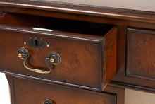 Load image into Gallery viewer, Burr Poplar Dark Stain Luxury Traditional English Antique Reproduction Walnut Desk