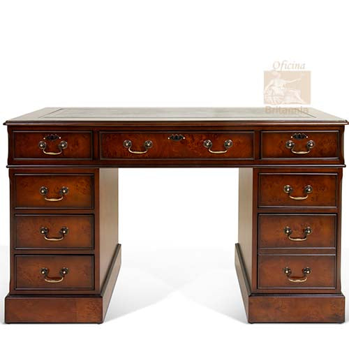Burr Poplar Dark Stain Luxury Traditional English Antique Reproduction Walnut Desk