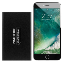 "Load image into Gallery viewer, ""Practice #SafeSocial"" Portable Charger"