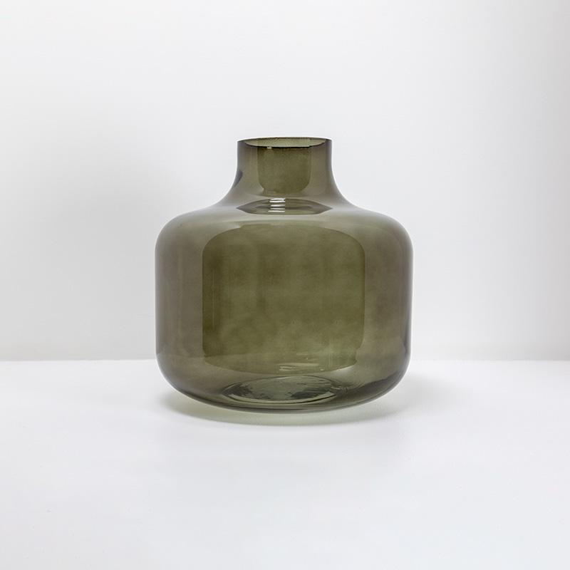 Grand vase design transparent vert