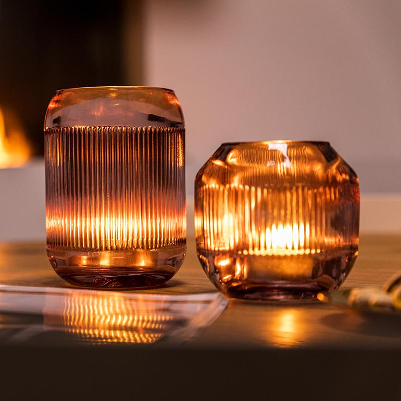 Beaux photophores design en verre rose strié