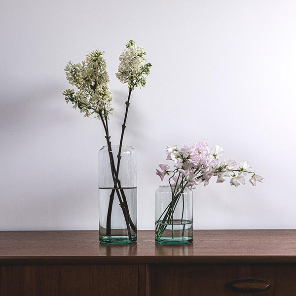 Beaux vases tube en verre transparent