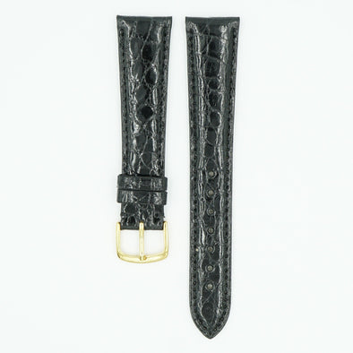 Caiman Padded Black Crocodile Leather Watch Strap