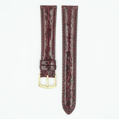 Caiman Padded Burgundy Crocodile Watch Band