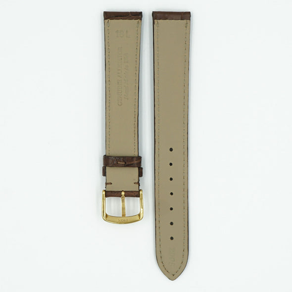 Genuine Matte Brown Long Alligator Watch Strap