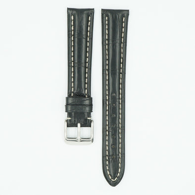 Alligator Matte Black Watch Strap