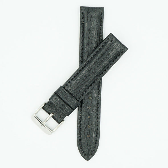Shark Skin Black Leather Watch Strap
