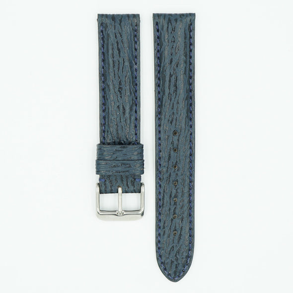 Shark Skin Blue Leather Watch Strap