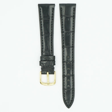 Vintage Matte Black Alligator Watch Strap