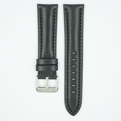 The Collection Polished Italian Leather Watch Strap - Black