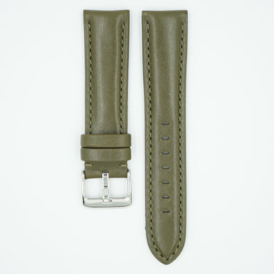 The Collection Polished Italian Leather Watch Strap - Olive