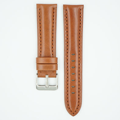 The Collection Polished Italian Leather Watch Strap - Tan