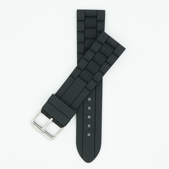 Black Silicone Link Watch Strap