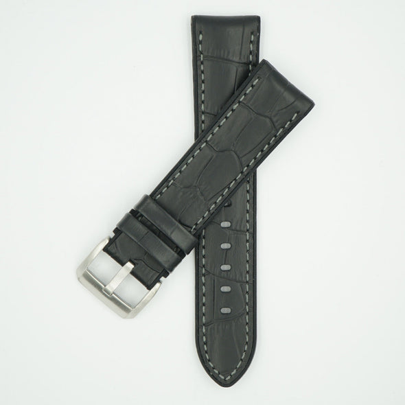 Leather Over Silicone Black/Gray Strap