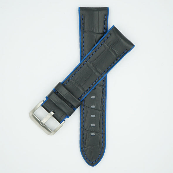 Leather Over Silicone Black/Blue Strap