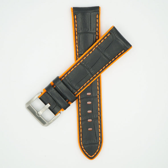 Leather Over Silicone Black/Orange Strap