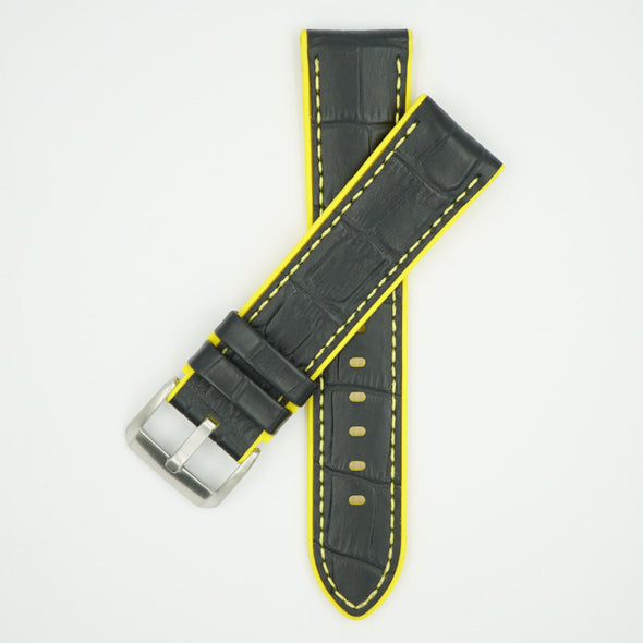 Leather Over Silicone Black/Yellow Strap