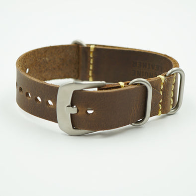 Brown Vintage Oil Tanned Leather NATO Strap