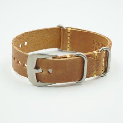 Natural Oil Tanned Leather NATO Strap