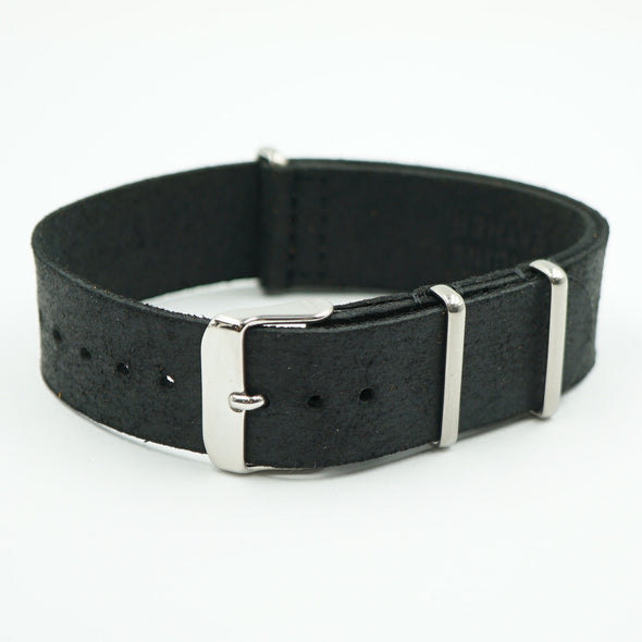 Black Worn Leather NATO Strap