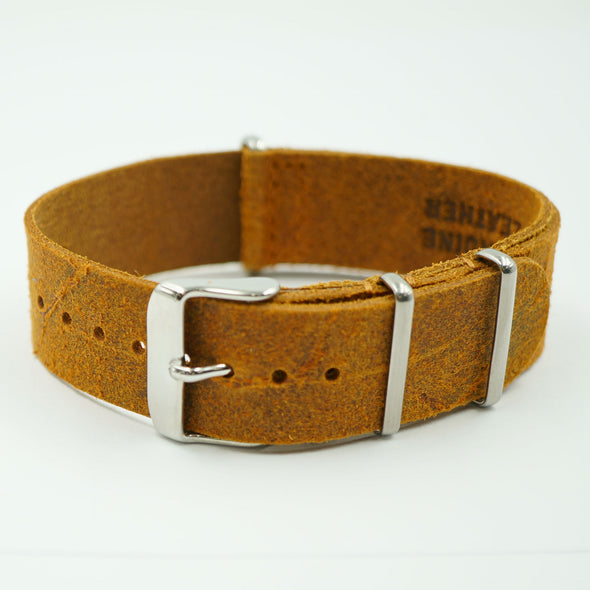 Tan Worn Leather NATO Strap