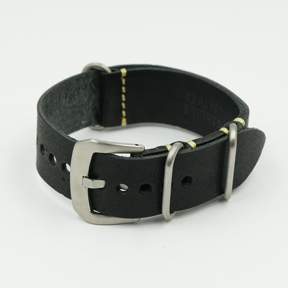 Black Vintage Leather NATO Strap