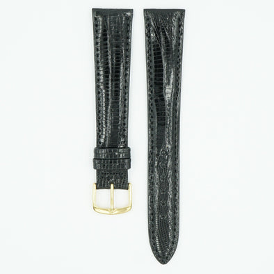 Teju Black Lizard Long Watch Strap