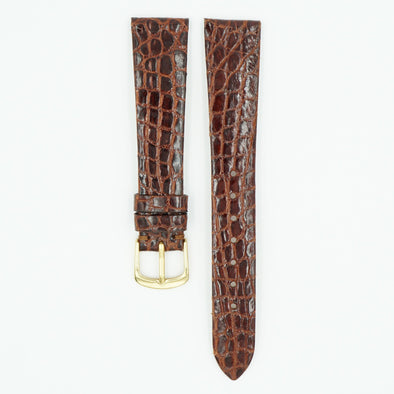 Caiman Chesnut Flat Crocodile Watch Band