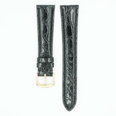 Caiman Padded Black Crocodile Watch Band