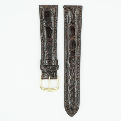 Caiman Padded Brown Crocodile Watch Band