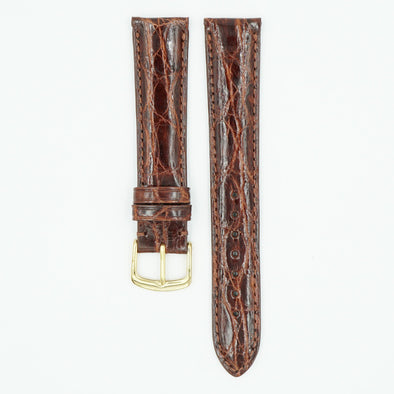 Caiman Padded Chestnut Crocodile Watch Band