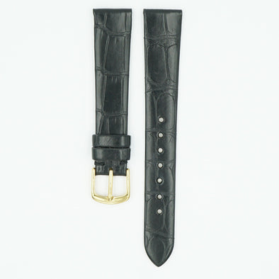Vintage Alligator Black Matte Watch Strap